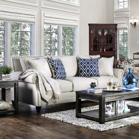 Furniture of America Fabric Nailhead Sofa with Accent Pillows