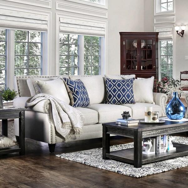 Furniture Of America Ferisen Contemporary Linen Like Sofa