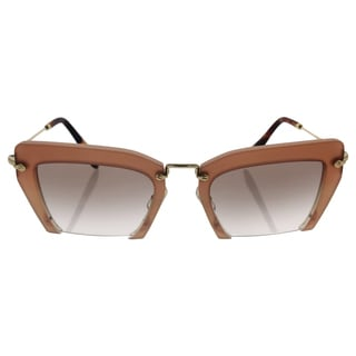 Miu Miu MU 10Q UA8-1L0 Women's Pearl Rose Frame Brown Lens Sunglasses