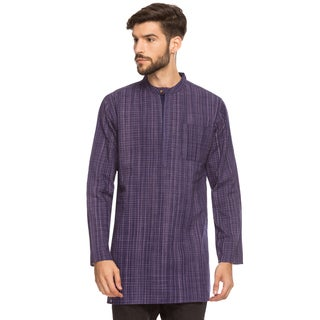 Handmade Shatranj Men's Indian Mandarin Collar Mid-length Tunic Kurta Space-Dye Checks (India)