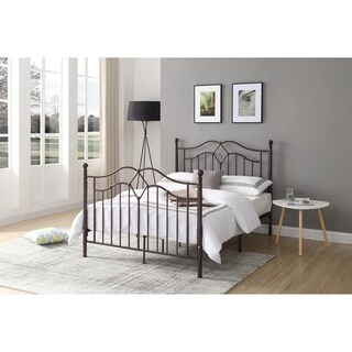 Hodedah French Spindle Style Metal Poster Bed in Bronze