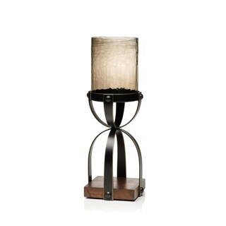 "15"" Tall Hourglass Hurricane Candle Holder, Wood Base"