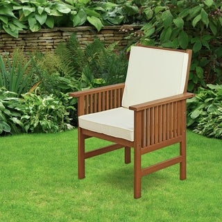 Furinno Tioman Outdoor Hardwood Mediterranean Armchair with Cushion