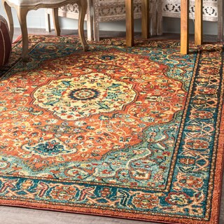 nuLOOM Traditional Vintage Floral Rings Medallion Border Rust Rug (4' x 6')