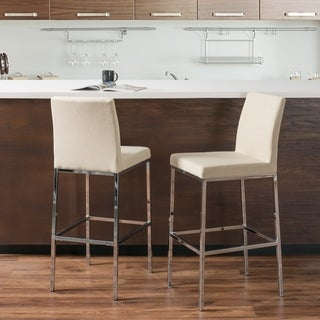 "CorLiving Fabric Barstools with Chrome Legs, 30.5"" Seat Height (Set of 2)"