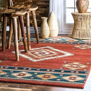 Nuloom Solid Red Southwestern Style Tribal Diamond Pattern Rug 5 X