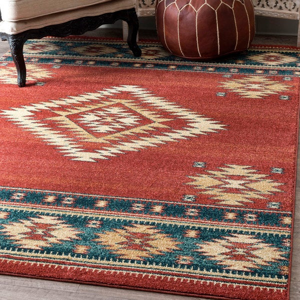 nuloom red/blue/beige tribal diamond southwestern area rug (8' x
