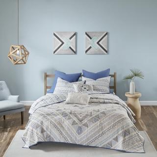 Urban Habitat Roxanne Blue 7 Piece Cotton Reversible Coverlet Set