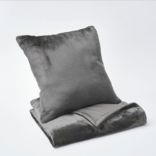Vellux Plush/Microfiber Grey Throw