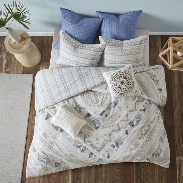 Urban Habitat Roxanne Blue 7 Piece Cotton Reversible Duvet Cover Set - Comforter Insert Not Included