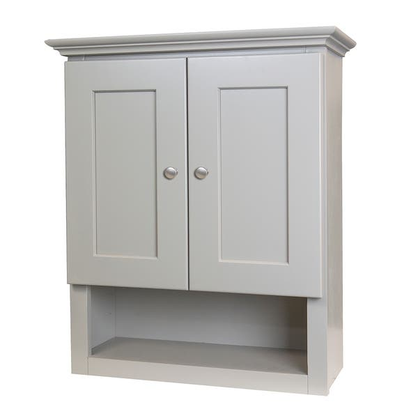 Grey Shaker Bathroom Wall Cabinet - N/A - On Sale - Overstock - 17373450