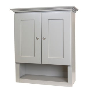 Grey shaker bathroom wall cabinet free shipping today for Overstock free returns