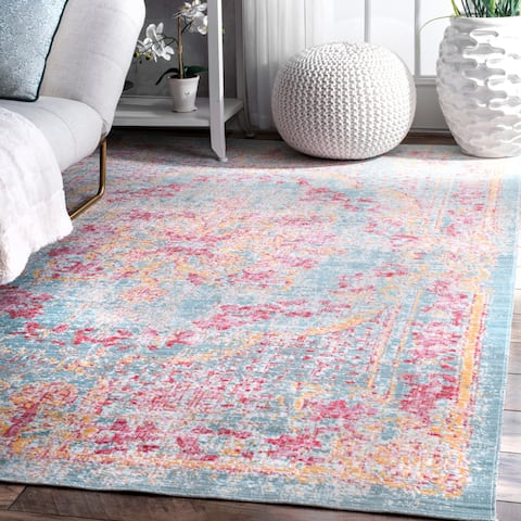 nuLOOM Traditional Vintage Majestic Floral Medallion Area Rug