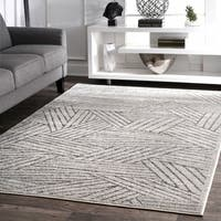nuLoom Contemporary Overlapping Grey Striped Boards Area Rug (5' x 8') - 5' x 8'