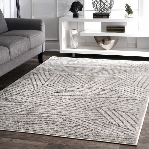 nuLOOM Grey Contemporary Overlapping Striped Boards Area Rug. Opens flyout.