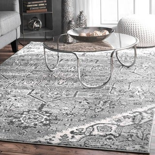 nuLoom Vintage Grey/Off-white Tribal Medallion Area Rug (8'2 x 11'6)