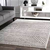 "nuLoom Contemporary Overlapping Striped Boards Grey Rug (8'2 x 11'6) - 8'2"" x 11'6"""