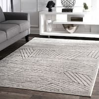 nuLoom Contemporary Overlapping Striped Boards Grey Rug - 8'2 x 11'6