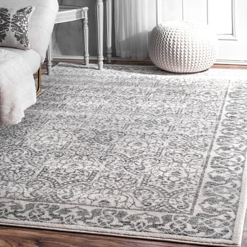 nuLOOM Grey/Ivory Moroccan-inspired Floral Area Rug