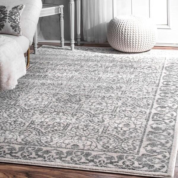 Shop Nuloom Moroccan Inspired Grey Ivory Floral Area Rug