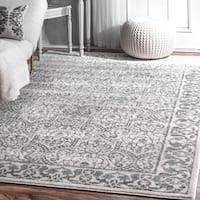 """nuLoom Floral Border Grey Traditional Moroccan-inspired Rug (8'2 x 11'6) - 8'2"""" x 11'6"""""""