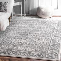 nuLoom Floral Border Grey Traditional Moroccan-inspired Rug (8'2 x 11'6)