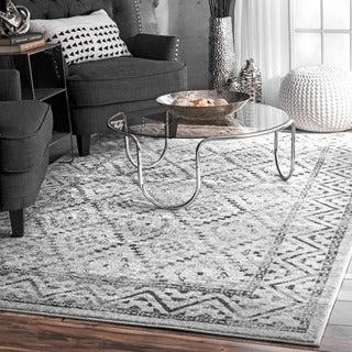 nuLoom Traditional Vintage Inspired Grey Tribal Diamond Trellis Border Rug (8'2 x 11'6)
