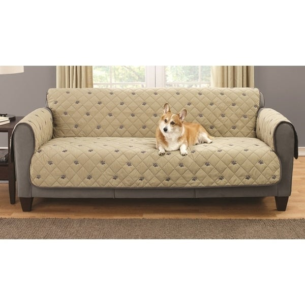 Embroidered Pet Sofa Protector With Non Slip Backing