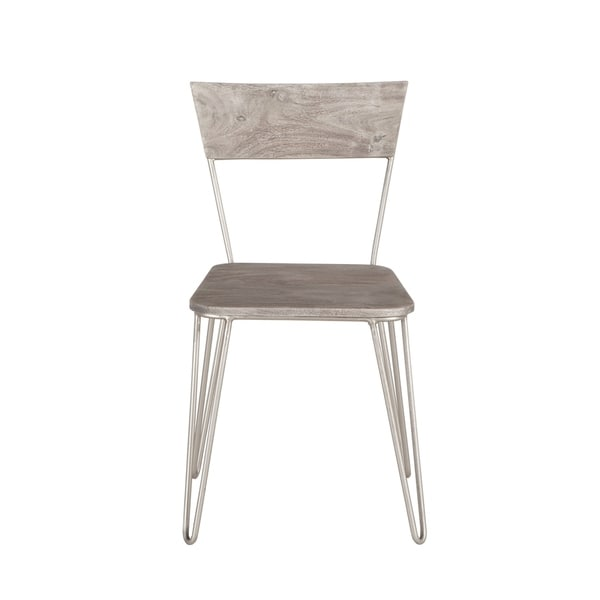 World Interiors Set Of Two Weathered Grey Acacia Wood Dining Chairs