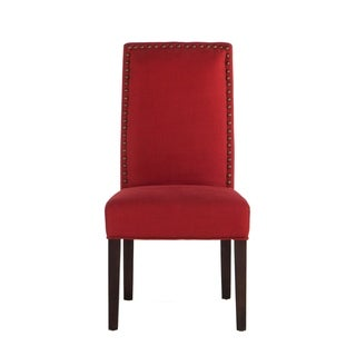 Set of Two Red Linen Chairs with Nailhead Trim by World Interiors