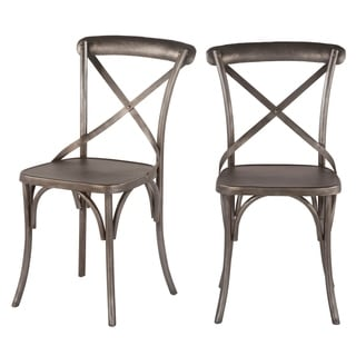Set of Two Reclaimed Antique Nickel Dining Chair by World Interiors