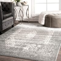 nuLoom Traditional Vintage Distressed Grey Medallion Elaborate Border Rug (8'2 x 11'6)