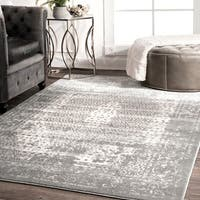 nuLoom Traditional Vintage Distressed Grey Medallion Elaborate Border Rug - 8'2 x 11'6