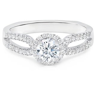 LeZari & Co. 1.20ct TDW Delicate Round Diamond Halo Engagement Ring with Petite Split Shank Band in 18K White Gold