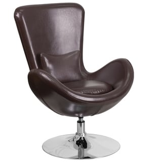 Curved Wing Design Brown Swivel Adjustable Living Room Accent Chair