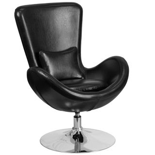 Curved Wing Design Black Swivel Adjustable Living Room Accent Chair