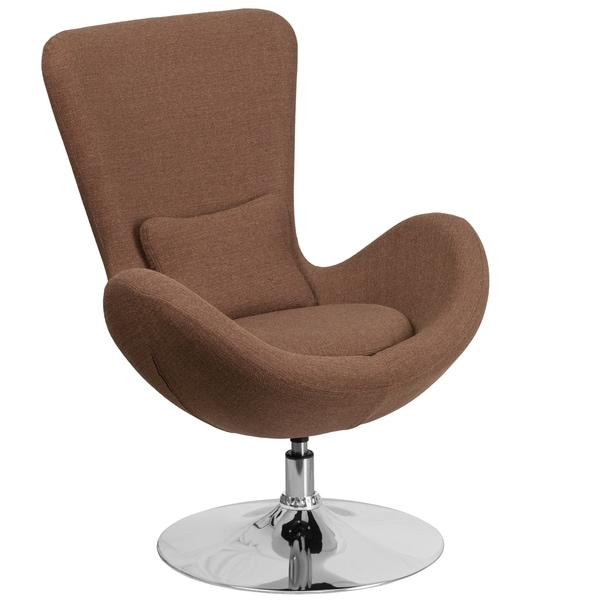 Shop Curved Wing Design Brown Fabric Upholstered Swivel ...