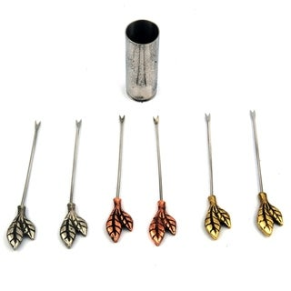 Inox Leaf Design 7-piece Stainless Steel Olive/Cheese Picks with Holder