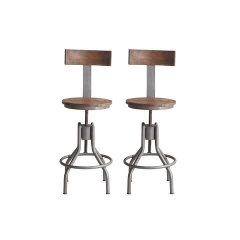 Artezia Set of Two Reclaimed Teak Adjustable Barstools