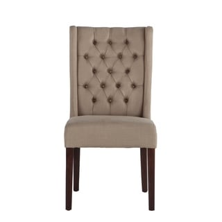 Set of Two Tufted Warm Beige Linen Dining Chairs by World Interiors