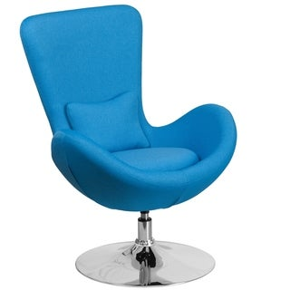 Curved Wing Design Aqua Blue Fabric Upholstered Swivel Adjustable Living Room Accent Chair