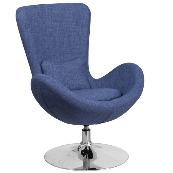 Shop curved wing design blue fabric upholstered swivel - Blue accent chairs for living room ...