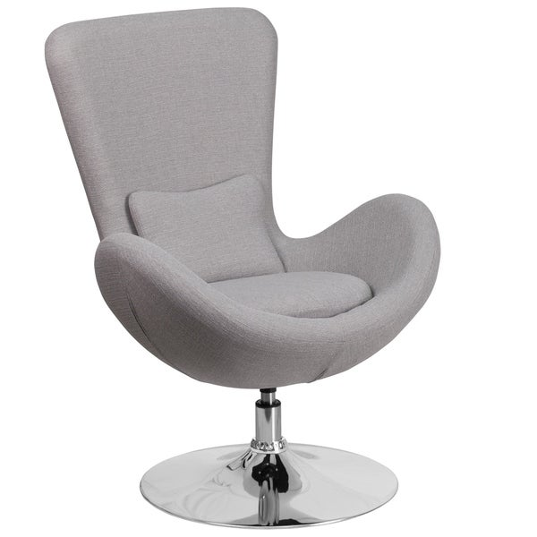 Shop Curved Wing Design Light Grey Fabric Upholstered ...