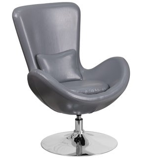 Curved Wing Design Grey Swivel Adjustable Living Room Accent Chair