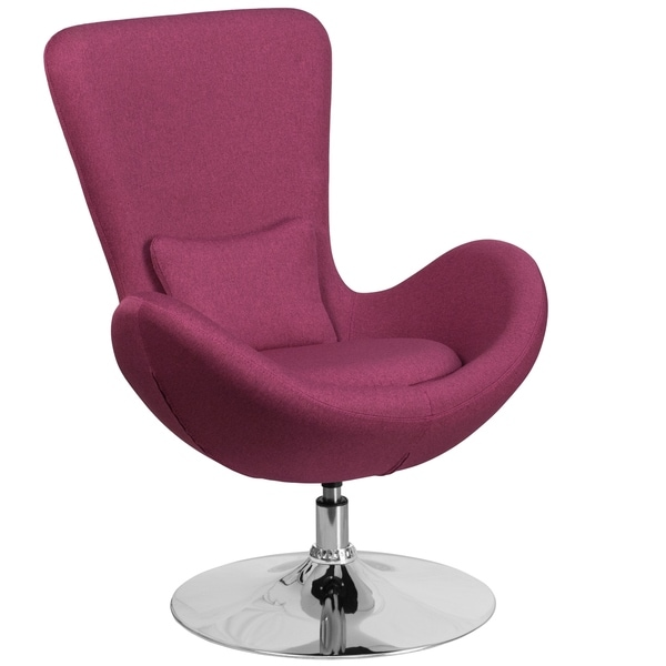 Curved Wing Design Magenta Purple Fabric Upholstered Swivel Adjule Living Room Accent Chair
