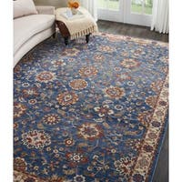 Nourison Reseda Distressed Blue Floral Rug - 7'10 x 9'10