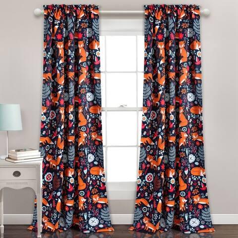 "Lush Decor Pixie Fox Room Darkening Window Curtain Panel Set - 52""W x 84""L"
