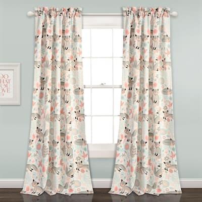 """Lush Decor Pixie Fox Room Darkening Window Curtain Panel Set - 52""""W x 84""""L - 52""""W x 84""""L"""