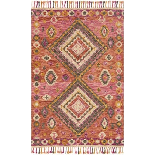Hand-hooked Sonnet Pink/ Multi Wool Rug (5' x 7'6)