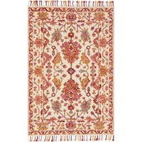 Alexander Home Sonnet Pink Berry/Ivory Wool Hand-hooked Area Rug - 5' x 7'6